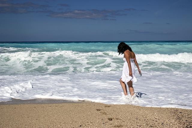 young girl sea